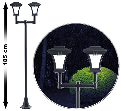 Royal Gardineer Gartenleuchte: 2-flammige Solar-LED-Gartenlaterne, SWL-25, 0,36 W, 24 lm, 185 cm hoch (Straßenlaterne)