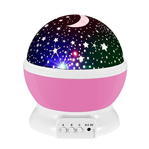 Lampada di Illuminazione Notturna, Rotante Stella Luna Cielo Proiettore per Bambini Camera da Letto...