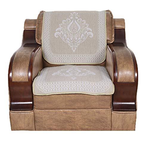 S N TRADERS Cotton 6 Pcs Reversible Sofa Slip Cover Set of 5 Seater (3+1+1) - Beige, Cream