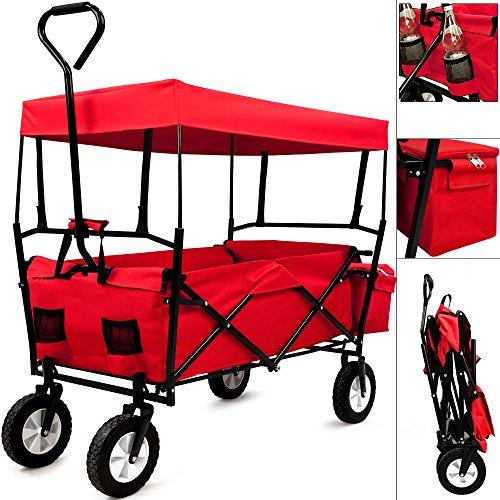 Deuba Bollerwagen faltbar mit Dach Handwagen Transportkarre Gerätewagen   inkl. 2 Netztaschen und Einer Außentasche   rot