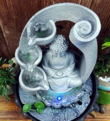 SPYXGS Artesanías del Sudeste Asiático Modelos Creativos Estatua De Buda Resina Agua Adornos Agua Paisaje Reclutar Propiedad Fuente 4