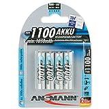 ANSMANN Micro AAA Akku Testsieger (Vergleich.org 06/2016) Typ 1100mAh NiMH hochkapazitiv Profi Digital Kamera-Akkubatterie (4er Pack)