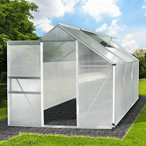 BRAST Gewächshaus Aluminium mit Stahlfundament 5,85m³ Alu Gartenhaus Treibhaus Garten 190x190cm