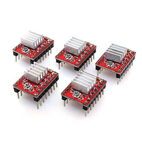 - Colori: verde, rosso. Dissipatori di calore: 9x 9x 5mm. A4988: 20 x 15 x 11 mm. La confezione include: 5 x moduli driver per motori La driver board A4988 è ampiamente utilizzata su stampanti 3D e piccole macchine CNC. Interfaccia di cont...