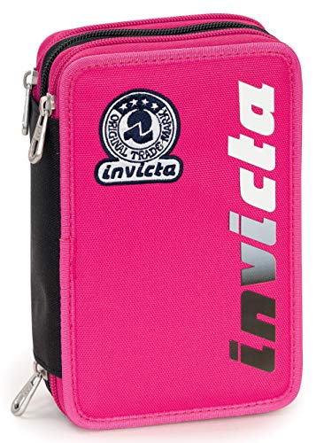 Astuccio 3 Zip Invicta Kupang, Rosa, Con materiale scolastico: 18 pennarelli Giotto Turbo Color, 18...