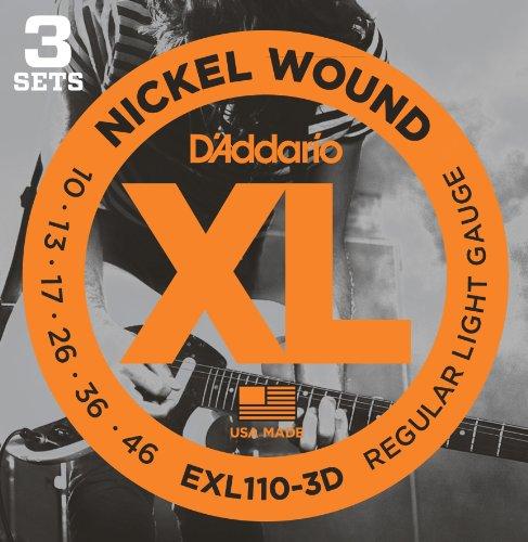 D'Addario EXL110-3D XL Nickel Wound Regular Light Electric Guitar Strings, 3 Pack