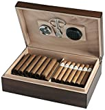 Egoist JK00170 Holz Humidor Box Set für ca. 25 Zigarren mit Hygrometer und Zigarrenschneider, Zigarren-Zubehör - Braun