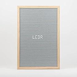 LEDR - Letter Board aus Holz und Filz - Grau / Natur | Buchstaben Tafel Buchstabenbrett Rillentafel Stecktafel mit 290 schwarzen Buchstaben und Zahlen - 30 x 45 x 2.5 cm - Retro Design