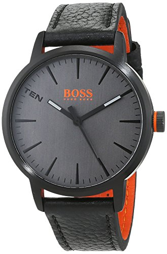 Hugo Boss Orange Herren Datum klassisch Quarz Uhr mit Leder Armband 1550055