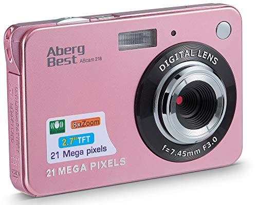 AbergBest Fotocamera digitale 2,7' schermo LCD Videocamera digitale in HD per studenti, per ambienti interni o esterni, per adulti, anziani, bambini (Rosa)