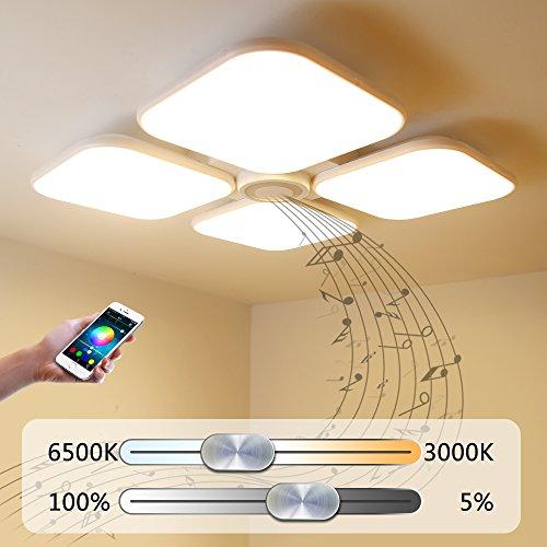 Led Deckenleuchte Deckenlampe Dimmbarmit BluetoothFunktion 72W,Bluetooth Lautsprecher Bluetooth Deckenleuchte FurWohnzimmer,Schlafzimmer,KücheundEsszimmer 50869-72W-LY