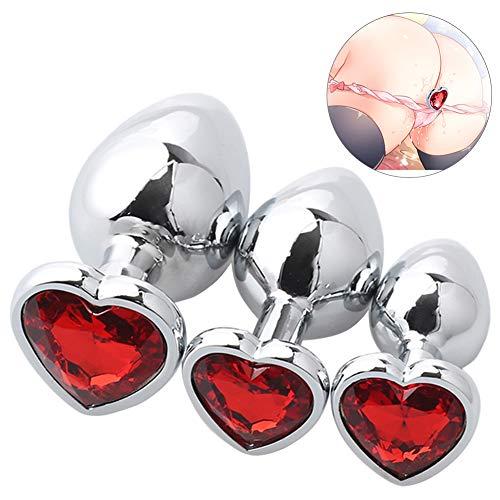 SXOVO Groß + Medium + Klein Analplug Set Luxus Metall Butt Spielzeug Herzförmige Anal Trainer Kristall Butt Plug Kit S & M Erwachsene Homosexuell Anal Plugs Frau Männer Sex Geschenke (Rot)
