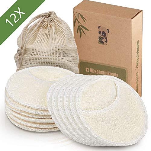 12 Stück Waschbare Abschminkpads und wiederverwendbare Abschminkpads aus Bambus,1 Waschsack aus Baumwolle,Umweltfreundliche Alternative zu Wattepads,Less Waste   Extrem Weich (Pads)
