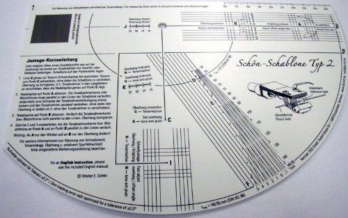 dos-Hifi Schön Schablone, Typ 2, Tonarmgeometrie-Mess- und Justierschablone