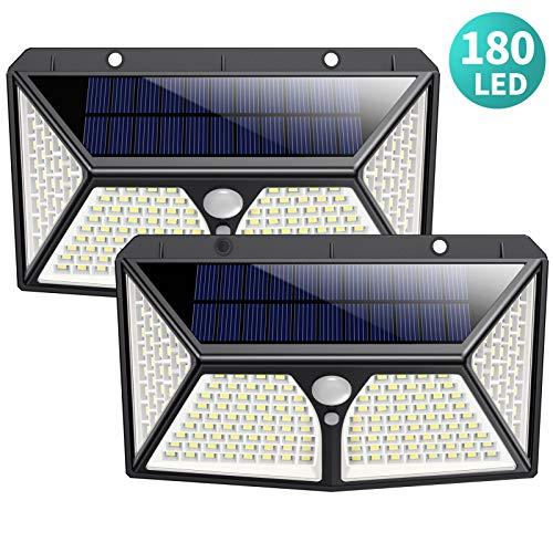 Solarleuchte für Außen, HETP【Superhelle 180 LED】Solarlampen für Außen Bewegungsmelder【270 ° vierseitige Beleuchtung】2500 mAh Hohe Kapazität Solarleuchten Sicherheitswandleuchte mit 3 Modi (2 Stück)