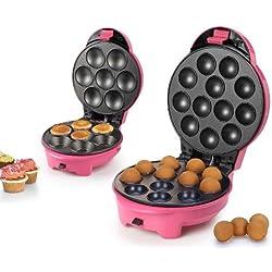 2in1 Cakepop-Maker und Cup Cake Maker Waffeleisen Cup-Cakes Babycakes Cake Pop Kuchen (sparsame 700 Watt, antihaftbeschichtet, Wechselplatten + Lollipop Sticks)