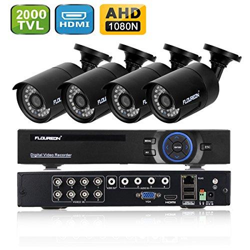 FLOUREON DVR Kit Videosorveglianza (8CH 1080N AHD HDMI DVR + 4 * 960P 2000TVL 1.3MP Telecamera...