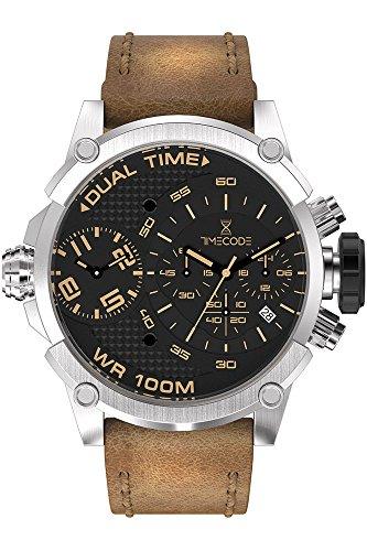 Timecode Herren Chronograph Quarz Uhr mit Leder Armband TC-1002-15