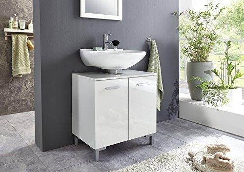 BMG Möbel Hochglanz SOFTCLOSE Bad Unterschrank Waschbeckenunterschrank Marbella in Hochglanz weiß mit Softclose und Einlegeboden - Made in Germany -