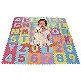 Smibie Alfombra Infantil de Puzzle Goma EVA 36 Piezas Desmontables Manta de Puzzle de Espuma Gigante de Suelo Alfabeto y Números para Niños
