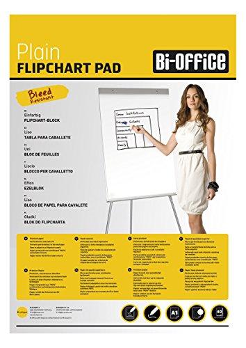 Bi-Office Blocco Per Lavagna di Carta A1, Bianca, 40 Fogli per Blocco, Lato Superiore Perforato, 55...