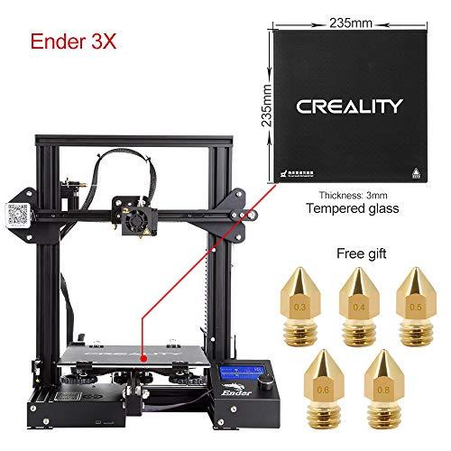 Comgrow Creality 3D DIY Stampante 3D Ender-3X with Lastra di Vetro Temperato 220 * 220 * 250 Dimensione di Stampa
