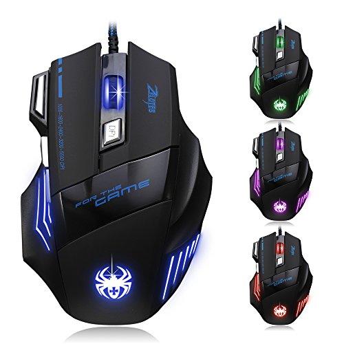 Dland, Zelota, mouse ottico professionale, con LED, 7200dpi, 7 tasti, con cavo per ingresso USB,...
