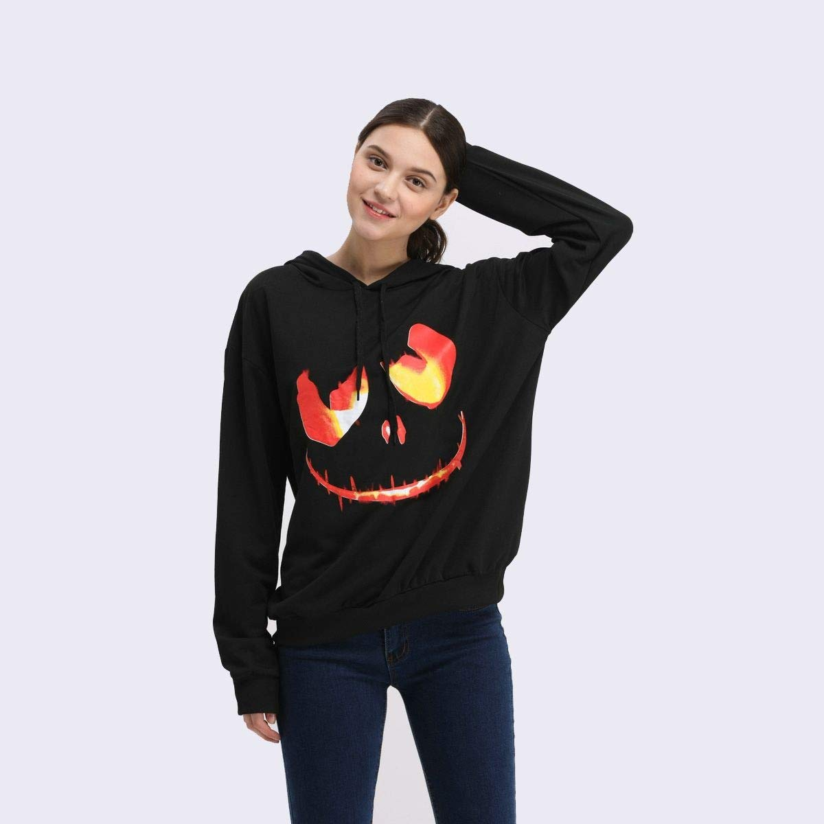 Plus Size Ugly Christmas Sweater.Sweaay Fashion Ugly Christmas Sweater Hooded Sweater Pullover Loose Sweater Devil Print Women Plus Size