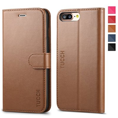 TUCCH Custodia iPhone 8 Plus, Cover iPhone 7 Plus Portafoglio, Custodia in Pelle con Interno TPU Antiurt, [Supporto Stand] [3 Carta Fessura] e Flip Wallet Cover per iPhone 7/8 Plus – Marrone