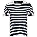 T-Shirt à col Rond décontracté à Rayures et col Rond été pour Hommes Malloom