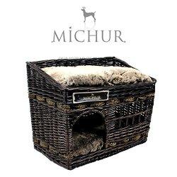 katzeninfo24.de MICHUR JERRY, Katzenhöhle, Hundehöhle, Katzenkorb, Hundekorb, WEIDE, RATTAN, NATUR, ca. 57x35x43cm (Liegefläche ca. 55x33cm)