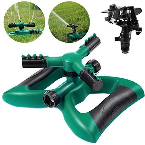 Homemaxs Rasensprenger Garten Sprinkler 3 Arm mit Auswirkungssprinkler, Automatische 360 Grad Rotierende, Einstellbarer Winkel und Abstand für Garten Rasen Bewässerung