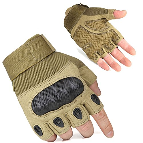 FreeMaster Men's-Products-Guanti mezze dita da ciclista, senza dita, per caccia softair...