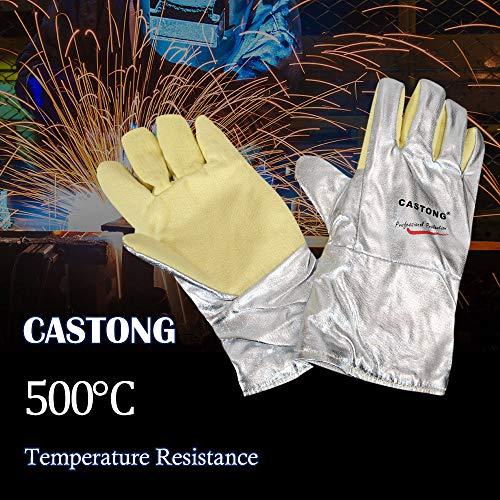 Guanti anti-calore fino a 500 °C, certificati EN407, per trattamento termico del metallo e vetro,...