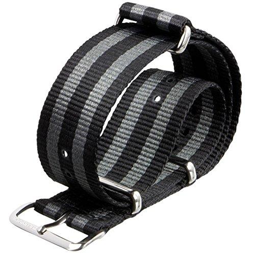 Cinturino orologio ZULUDIVER Nylon G10 NATO Strisce nero/grigio 20mm