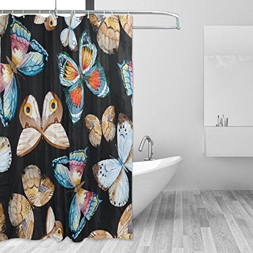 Cortinas de ducha impermeable prueba de molde mariposa resistente al moho lavable polyseter cortina de baño con ganchos resistente para baño decoración accesorios 66x 72inch