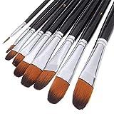 Pinceles de artista, 9 piezas, mango largo, pinceles perfectos para acuarelas, acrílicos, pintura al óleo, gouache