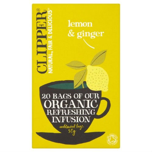 Clipper organic lemon and ginger tea bundle (soil association) (infusions) (4 packs of 20 bags) (80 bags) (a fruity, spicy tea with aromas of ginger, lemon) (brews in 2-5 minutes)
