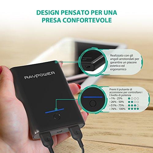 RAVPower Caricatore Portatile 10000mAh Power Bank, Batteria Compatta da 10000 con Potenza 3.4A, Elevata velocità Ricarica, 2 Porte USB iSmart 2.0, Caricabatteria Portatile per Smartphone e Tablet