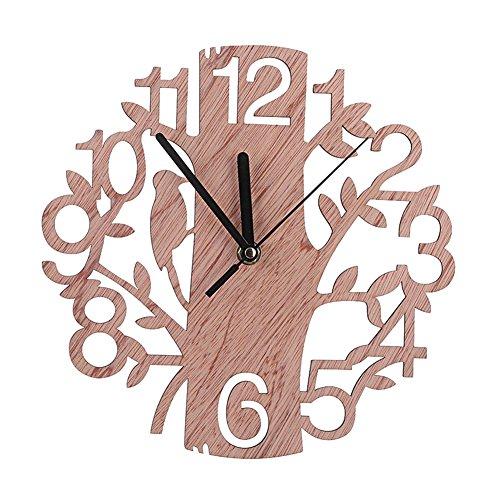 Orologio da Parete, 22 cm Rotondo in Legno Forma Dell'albero Stile Vintage Orologio Digitale per Camera Casa Ufficio Scuola Decorazione