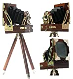"""Collectibles Buy Vintage Look Film Camera Wooden Tripod Collectible Studio Gift 4X4X5"""" Brown"""