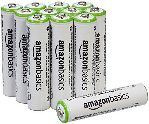 AmazonBasics - Pile Ricaricabili Mini Stilo AAA precaricate NiMH (confezione da 12, 800 mAh)
