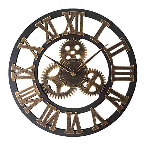 Orologio da Parete Decorazione per Ingranaggi in Legno Tondo Vintage Diametro 70 Cm Silenzio No...