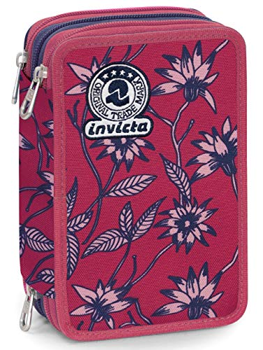 Astuccio 3 Zip Invicta Primerose, Rosa, Con materiale scolastico: 18 pennarelli Giotto Turbo Color,...