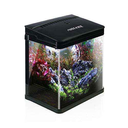 Nobleza - Acuario de Cristal con Cubierta y Luces LED. Sistema de Filtro de 14 litros. Color Negro