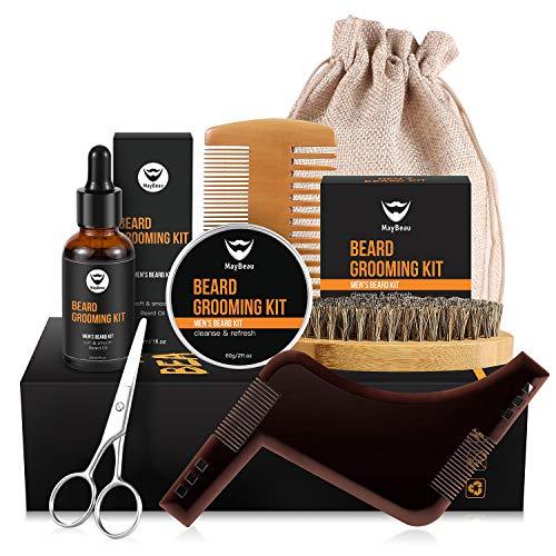 MayBeau, kit di balsamo da barba per uomo, contiene balsamo da barba inodore, olio da barba, pettine, spazzola per barba, forbici e borsa di tela, regalo perfetto per papà, marito