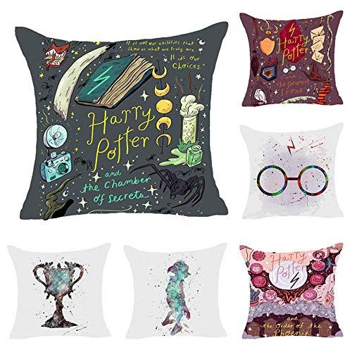 CAIMIN BZ Harry Potter Santo Grial Dolby Magia Arte Dipinto a Mano Creativo Abracci di Cotone Federa per Cuscino per Divano Camera da Letto 45,7 x 45,7 cm Set di 6