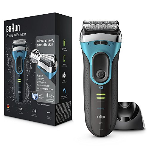 Braun Series 3 ProSkin 3080s Rasoio Barba Elettrico da Uomo Wet&Dry Ricaricabile, Nero/Blu