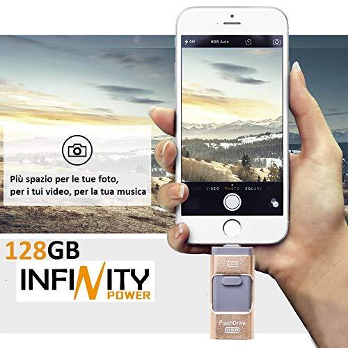 Memoria esterna 128GB 3 in 1 per iPhone e Android (Samsung, Huawei e altri) PC OTG Flash Drive USB...