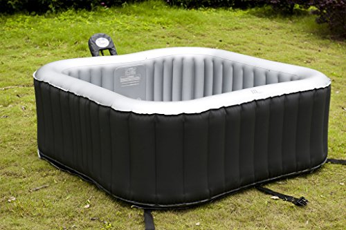 The Mspa Alpine M-009LS Inflatable Hot Tub is one of the inflatable hot tubs that departures from the predictable round design to a square shape which we like, however its a tight 4 person squeeze despite the fact that it looks like being square would give you more room, remember when I said its 4 seater but more on this in the minute. Still is not sa bad size overall.